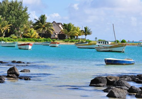 Boats at shore in Mauritius