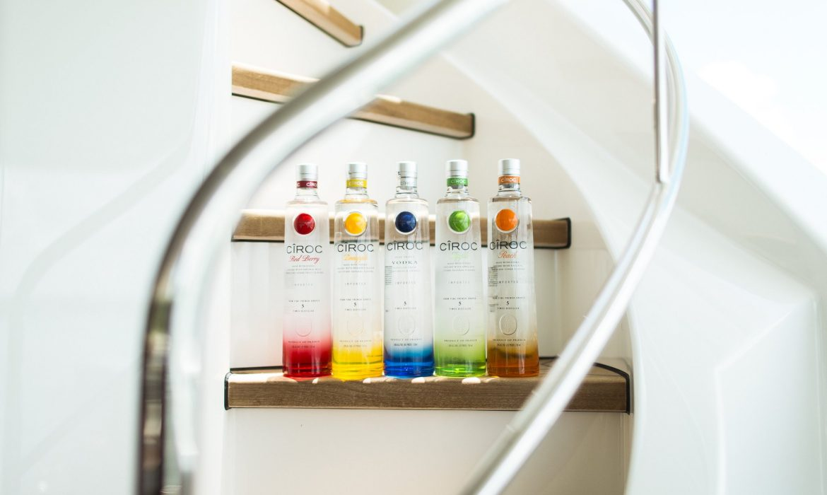 Lined up Ciroc flavours on steps