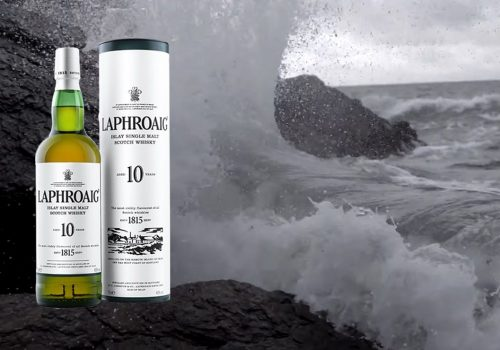 Laphroaig Whisky next to crushing waves