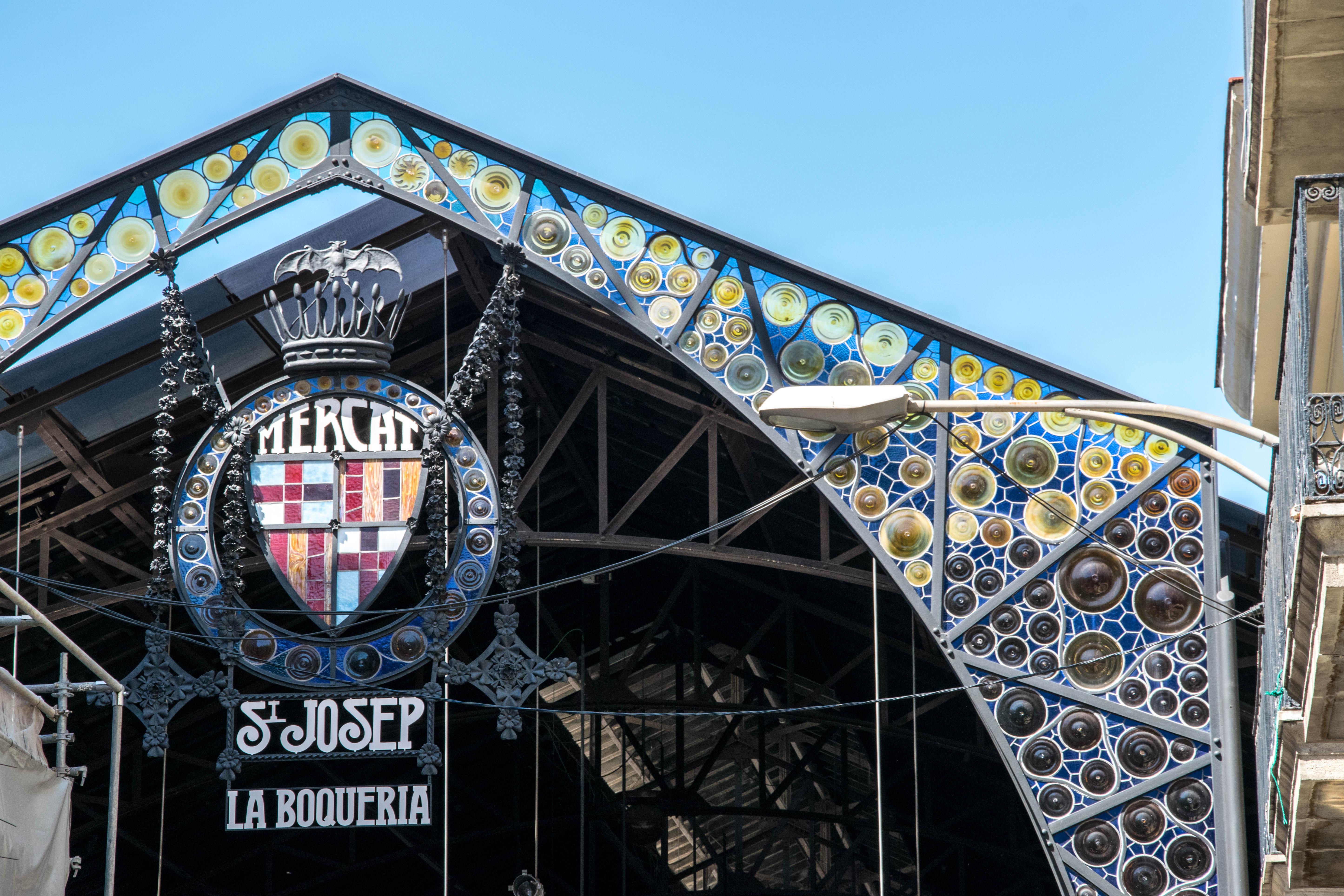 La Boqueria Market entrance in Barcelona
